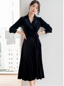 Quality OL Tailored Collar Tie Waist Pleated Velvet Dress