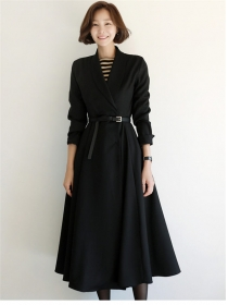 Boutique Fashion Tailored Collar Coat Long Dress