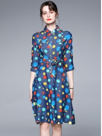 Europe Spring Zipper Collar Dots Denim Shirt Dress
