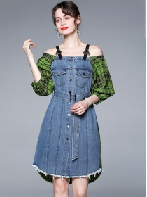 Summer Hot Single-breasted Plaids Splicing Denim Dress