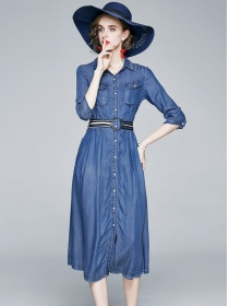 Spring Fashion Back Stripes Single-breasted Denim Dress