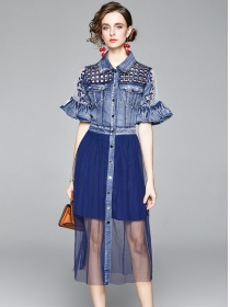 Vogue Single-breasted Hollow Out Denim Splicing Gauze Dress