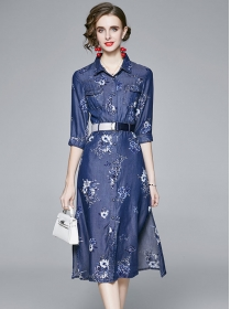 Europe Stylish Shirt Collar Flowers Denim A-line Dress