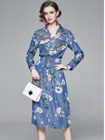 Spring Fashion Zipper V-neck Elastic Waist Flowers Dress