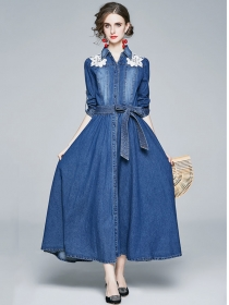 Boutique Fashion Flowers Shoulder Tie Waist Denim Long Dress