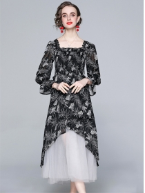 Europe Stylish Flowers Splicing Gauze Fluffy Long Dress