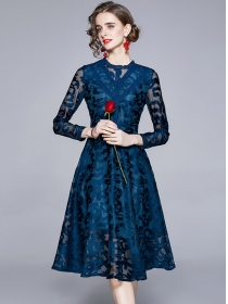 Retro Wholesale High Waist Flowers Lace Long Sleeve Dress