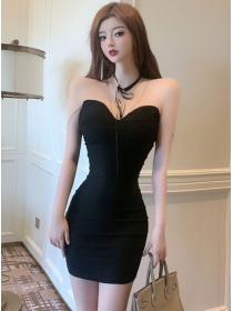 Summer Sexy Chain Straps Pleated Skinny Cotton Dress