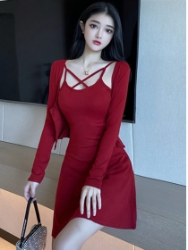 Fashion Korea 3 Colors Short Coat with Straps A-line Dress