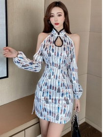 Sexy Wholesale Off Shoulder Printings Bodycon Dress