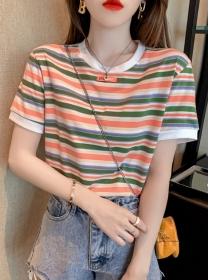 Korea Preppy 2 Colors Stripes Loosen Short Sleeve T-shirt