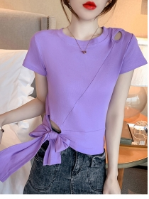 Summer New 5 Colors Tie Bowknot Waist Cotton T-shirt