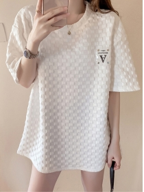 Hot Selling 2 Colors Round Neck Plaids Loosen T-shirt