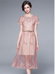 Charming Spring Flowers Embroidery Gauze A-line Dress