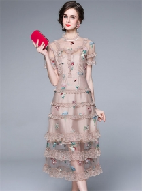 Retro Wholesale Lace Layered Flouncing Embroidery Dress