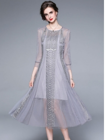 Europe Fashion 2 Colors Beads Embroidery Gauze Long Dress