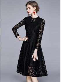 Europe Spring Lace Flowers Long Sleeve A-line Dress