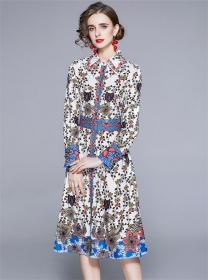 Wholesale Europe Belt Waist Flowers Shirt A-line Dress