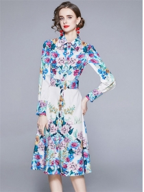 Spring Fashion Single-breasted Flowers Shirt A-line Dress