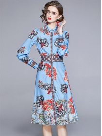 Europe Stylish Shirt Collar Flowers Long Sleeve Dress