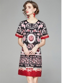 Retro Wholesale Jacquard Flowers Loosen A-line Dress