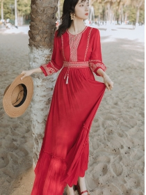 Fashion Retro High Waist Embroidery Flouncing Long Dress