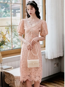 Grace Fashion Rhinestone V-neck Puff Sleeve Lace Dress