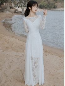 Charming Lady Backless Lace Flowers Splicing Maxi Dress