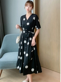 Simple Fashion Buttons V-neck Tie Waist Dots Dress