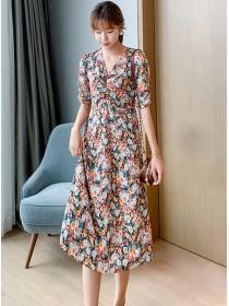 Pretty Wholesale Pleated V-neck Flowers A-line Dress