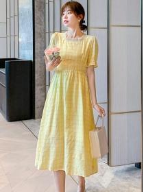 Fashion Girlish Square Collar High Waist Plaids A-line Dress