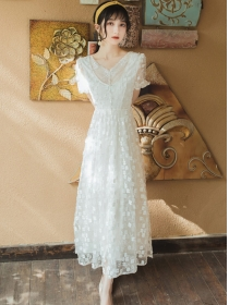 Pretty Fashion V-neck Flowers Embroidery Lace Long Dress