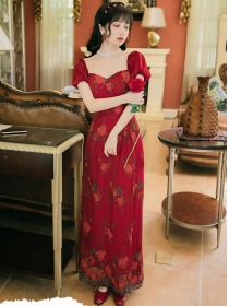 Hot Selling High Waist Flowers Embroidery Maxi Dress