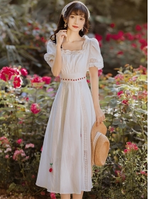 Charming Spring Hollow Out High Waist Puff Sleeve Dress