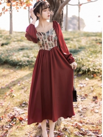 Retro Wholesale Flowers Square Collar Puff Sleeve Dress