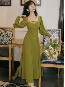 Modern Lady Flowers Embroidery Square Collar Long Dress