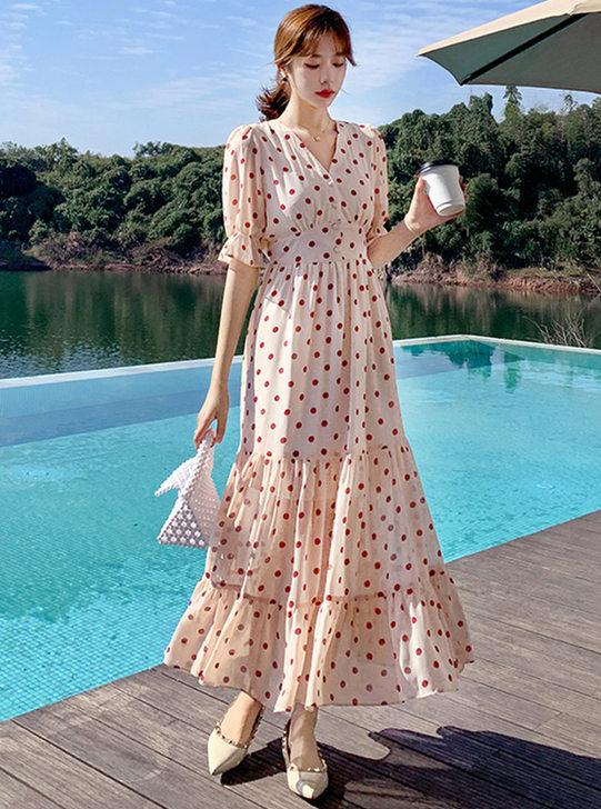 Wholesale Stylish High Waist Dots Fishtail Maxi Dress