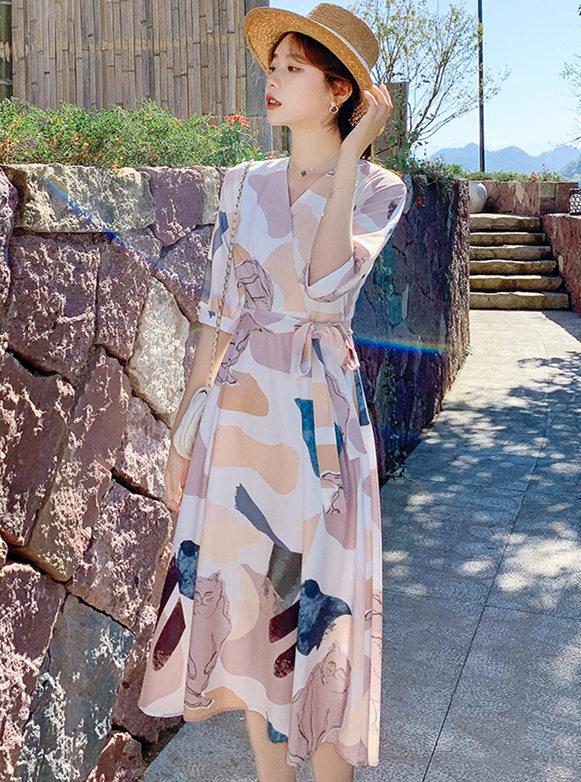 Stylish Korea Tie Waist V-neck Printings Long Dress