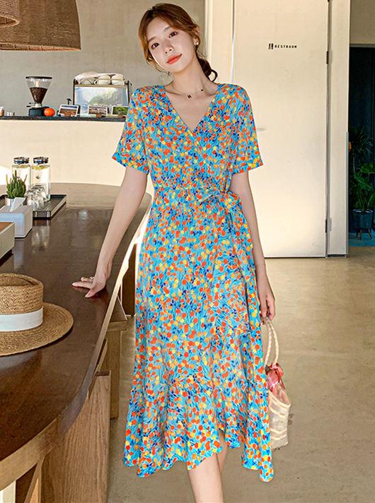 Bohemia Wholesale Tie Waist V-neck Flowers Dress