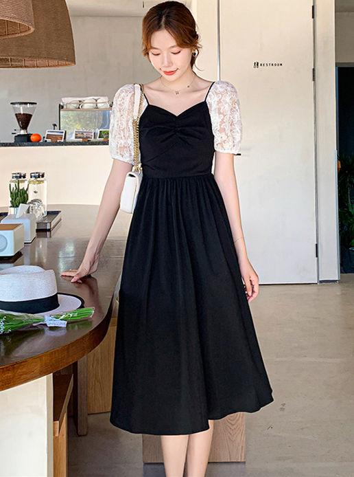 Wholesale Korea Lace Puff Sleeve High Waist A-line Dress