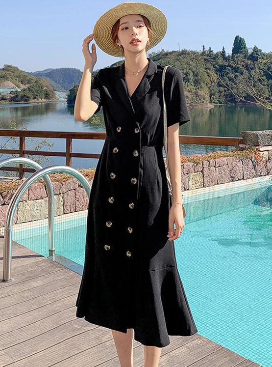 Korea Wholesale Double-breasted Tailored Collar Fishtail Dress