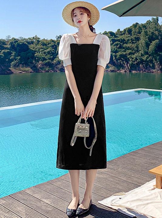 Retro Fashion Puff Sleeve High Waist A-line Dress