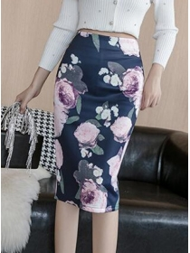 Simple Fashion High Waist Flowers Slim Skirt
