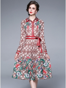 Europe Stylish Shirt Collar Flowers A-line Dress