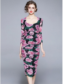 Spring Charm Square Collar Pleated Gauze Flowers Slim Dress