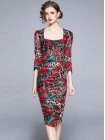 Europe Stylish Pleated Leopard Flowers Gauze Dress