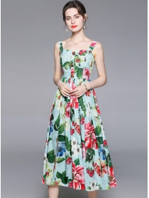 Spring New Rhinestones Buttons Flowers Straps Dress
