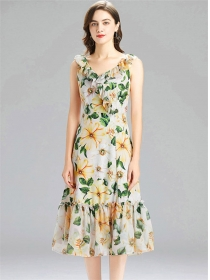 Pretty Europe Flouncing V-neck Flowers Fishtail Dress