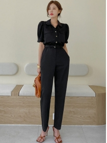 Modern Lady High Waist Shirt Collar Slim Long Jumpsuit