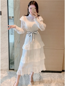 Modern OL Tie Waist Stripes Layered Flouncing Long Dress